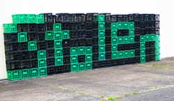 "Milk crates spell out ""stolen"""