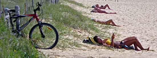 Transport Sydney: sunbathers on beach with bicycle