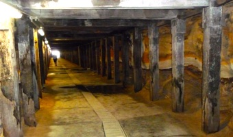 Interior of tunnel on Cockatoo Island with similar pillars to the Sydney Biennale film installation