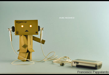 Cardboard box character with headphones, classical music internet radio