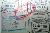 Sydney Australia airport: arrival stamps