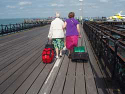 Airline luggage weight: two women with carry on luggage