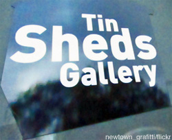 Art galleries Sydney: Tin Sheds Gallery sign