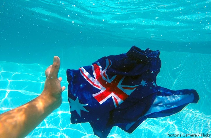 Australia Day events: flag floating under water