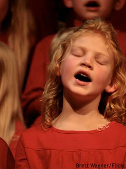 Carols in the Domain: Young girl singing