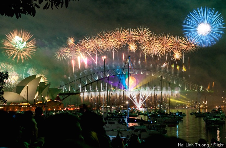 New Year's Eve Sydney Harbour Bridge with fireworks