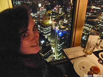 Photos of Sydney from above: looking down at Sydney's lights from a revolving restaurant
