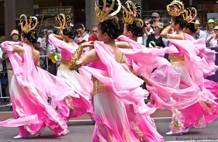 Sydney Chinese new year: dancing girls with floaty pink dresses and shawls