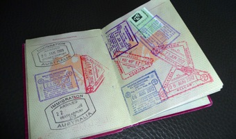 Tourist visa Australia: a page in a passport with stamps