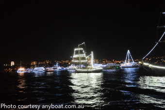 2017 New Year's Eve Sydney: boats lit up for the Harbour of Light Parade