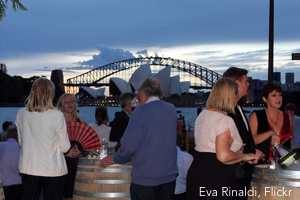 A drink with friends before the Sydney Harbour opera performance