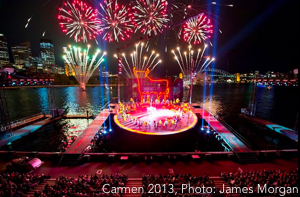 Sydney Harbour opera: the stage and fireworks