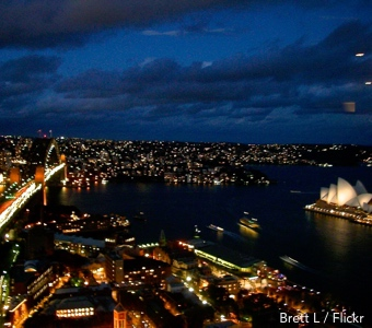 Sydney New Years Eve hotels: evening view of harbour and bridge from the Shangri La hotel