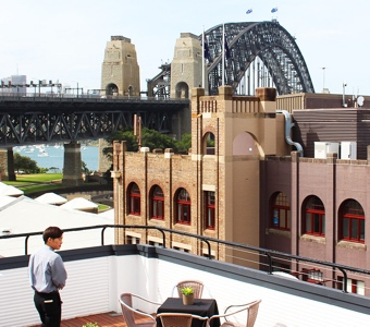 New Year's Eve hotels: views of the harbour and the bridge from the roof of the Holiday Inn Old Sydney