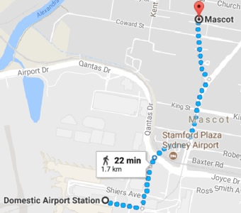 Avoid airport fees on Sydney trains: a map of the short walk to Mascot Station