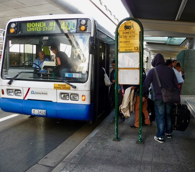 The 400 Bondi Junction bus avoids airport fees on Sydney trains