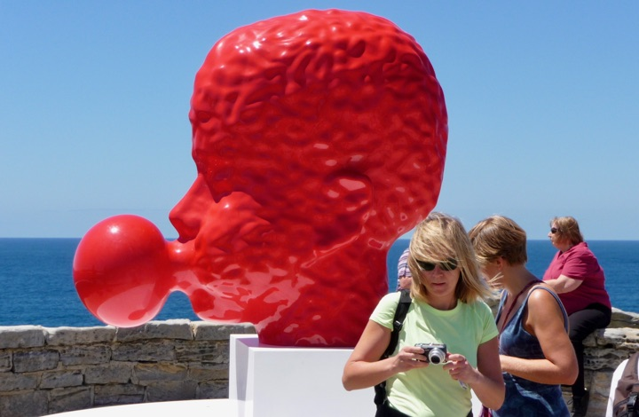 Sculpture by the Sea - red boy blowing gum