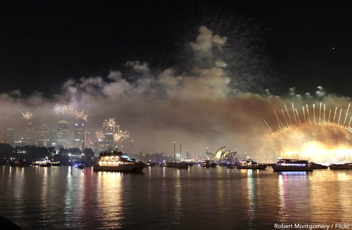 Looking down the harbour at the fireworks during Sydney New Years Eve Outdoors