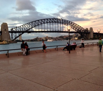 Sydney New Years Eve fireworks: the view from the western boardwalk of the Opera House, as you come out of the forecourt.