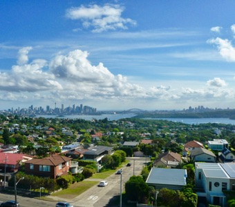 A stunning Sydney view, looking back to the city from the lighthouse